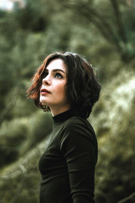djevojka, foto model, kosa, košulja, priroda, drvo