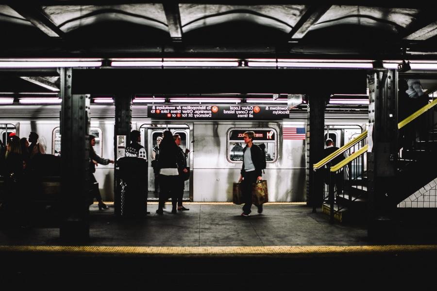 subway, station, man, stairs, transport, train, wagon