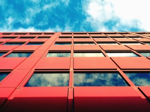reflection, glass, window, architecture, building, construction, sky
