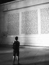 menino, mochila, parede, palavra, texto, fachada, edifício