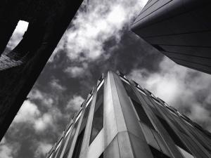 Bina, pencere, siyah ve beyaz, şehir, mimari, gökyüzü, bulut