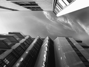 sky, cloud, black and white, building, architecture, facade, terrace