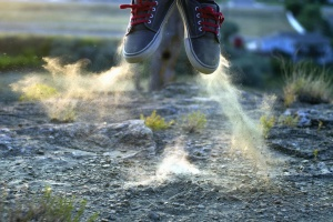 jump, dust, sneakers, shoe, red, shoelace, grass