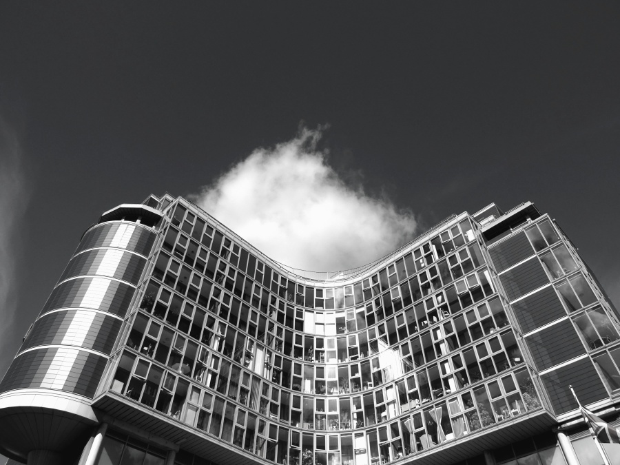 유리, 반사, 태양, 하늘, 빌딩, 건축