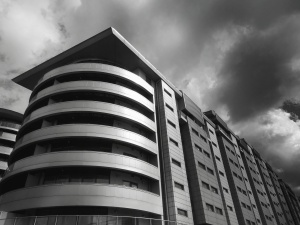 building, black and white, complex, architecture, cloudy, sky