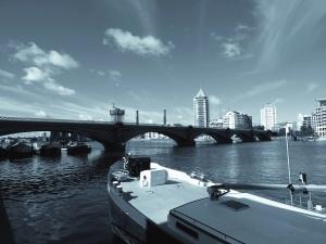 most, rieka, loď, voda, budova, mesto, oblúk