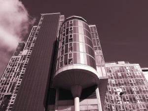 budynek, zewnętrzne, szklane, fasada, niebo odbicie