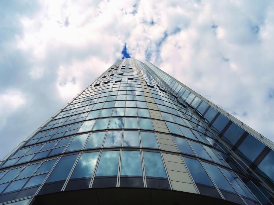 Verre, façade, bâtiment, architecture, ciel, nuage, lumière du jour