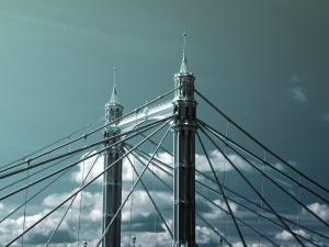 Puente, torre, metal, barras, nube, cielo, arquitectura