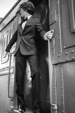 Rétro, homme, train, élégant, métal, vis, wagon