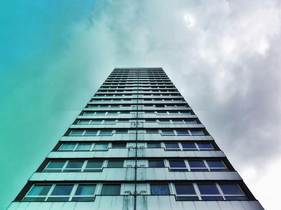 zgrade, nebo, stakla, prozora, građevinske, ured