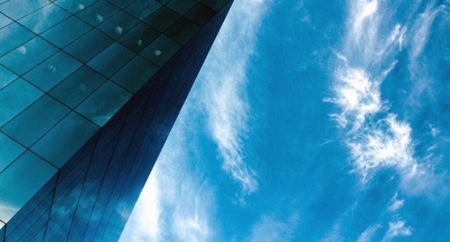 nebo, oblak, zgrada, fasada, prozora, stakla, posao