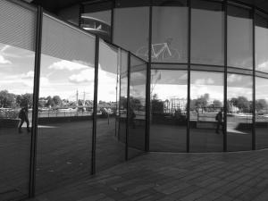 rakennuksessa, lasi, pohdintaa, bicycles, mies, ulkopuolinen