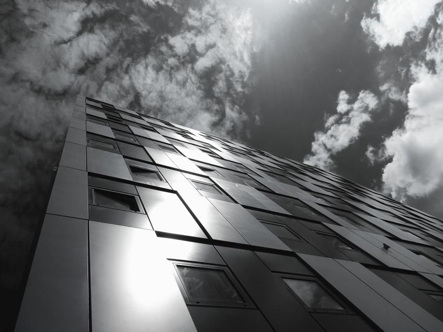julkisivu rakennus, musta ja valkoinen, arkkitehtuurin, sky, julkisivu