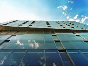 reflexão, vidro, construção, arquitetura, céu, nuvem