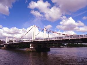Puente, cable, pilar, río, agua, arquitectura