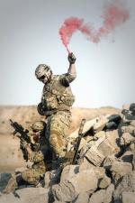 soldier, man, camouflage uniform, wall, smoke