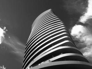 construção, arquitetura, preto, branco, terraço, céu, nuvem, edifício
