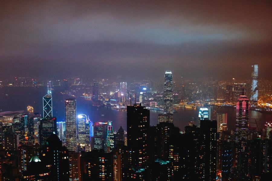 Miasto, światła, Niebo nocy, budowa, architektury