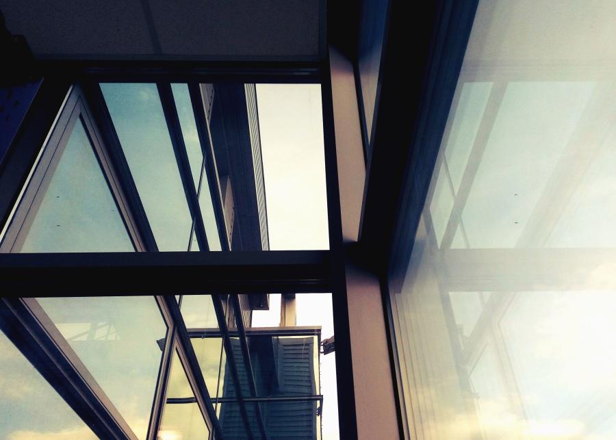 Costruzione, vetro, facciata, architettura, riflessione, moderno, cielo