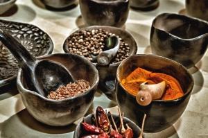 pepř, koření, fazole, miska, lžíce, jídlo, vaření