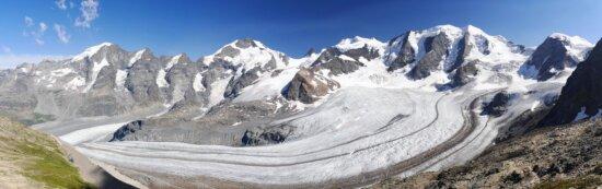 glacier, mountain, snow, winter, landscape, ice, cold, sky, travel