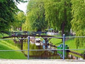 bridge, river, boat, coast, grass, fence, wood