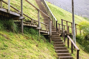 stairs, fence, wood, fiels, mountain