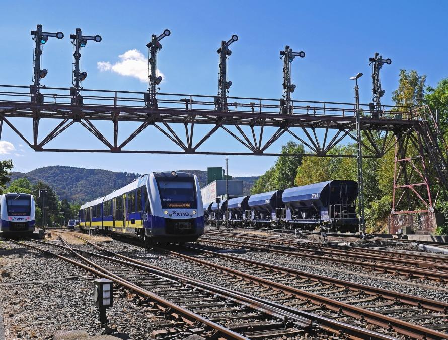 Pista, stazione, trasporto, trasporto, treno, viaggiare, ferrovia, ferrovia