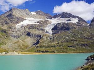 mountain, glacier, mountain, landscape, snow, valley, sky, water, tree, lake