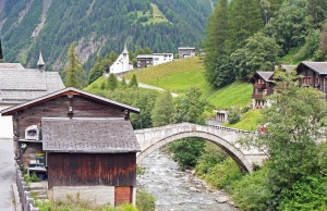 travel, bridge, architecture, mountain, river, tourism, water, house, tree, vacation