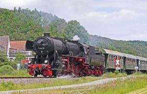 locomotive, vehicle, steam, smoke, passenger, hill, house, railroad