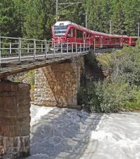 bridge, river, locomotive, transportation, railway, fence