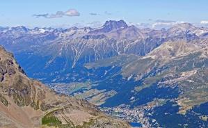 mountain, landscape, valley, sky, peak, forest, rocks