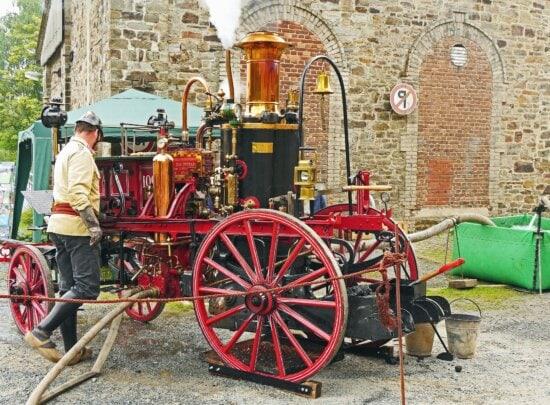 Maschine, Feuerwehrmann, Pumpe, Antike, Rad, Holz, Schlauch