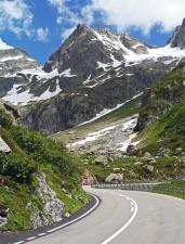 Berg, Tal, Landschaft, Straße, Asphalt, Schnee