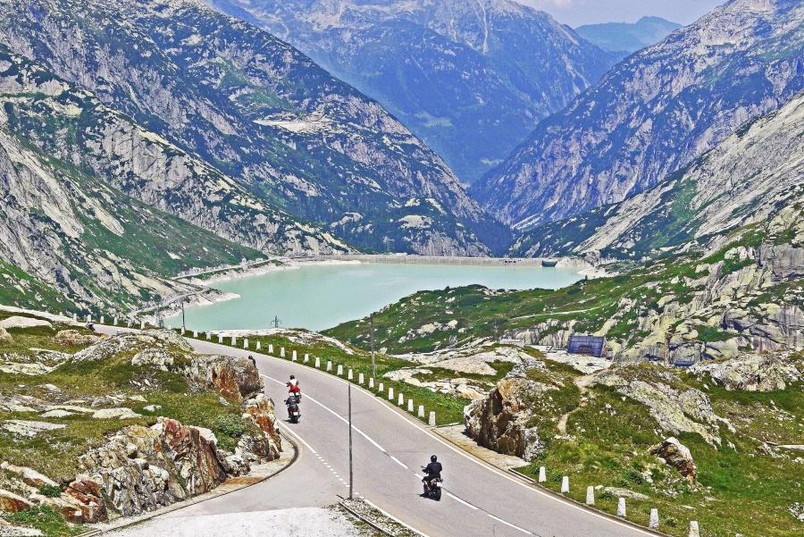 планински, небе, долина, пътуване, скали, път, асфалт, мотоциклет
