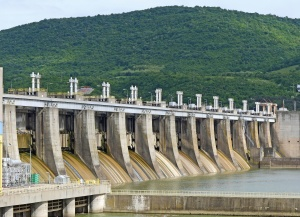 barrier, dam, structure, water, river, electricity, concrete