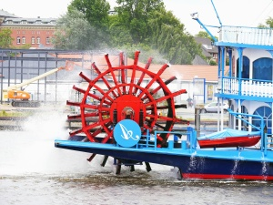machine, wheel, paddle wheel, boat, water, river