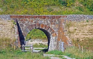 bridge, arch, structure, architecture, stone, grass