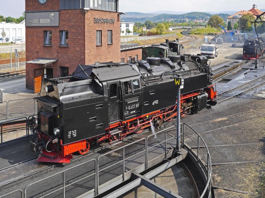 Lokomotive, dampf, transport, station, eisenbahn, reise, gebäude