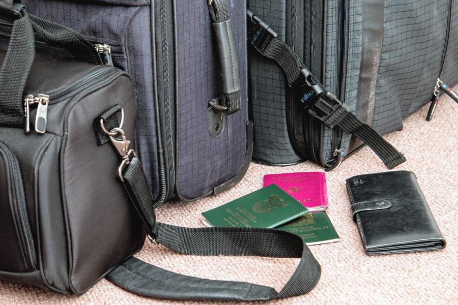 backpack, bag, wallet, passport, suitcase, travel
