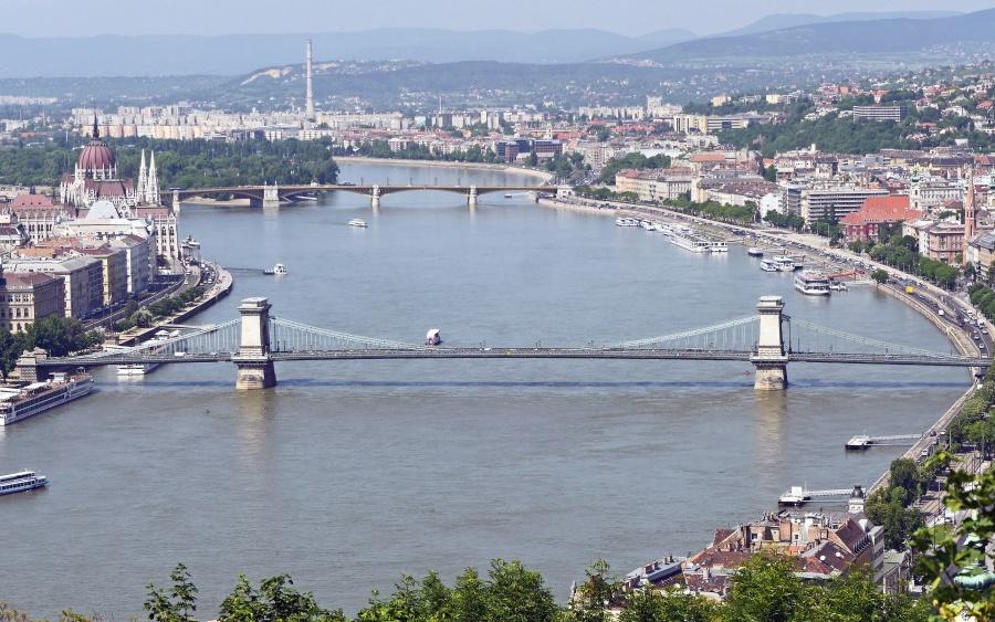 river, bridge, city, building, architecture, coast, boat