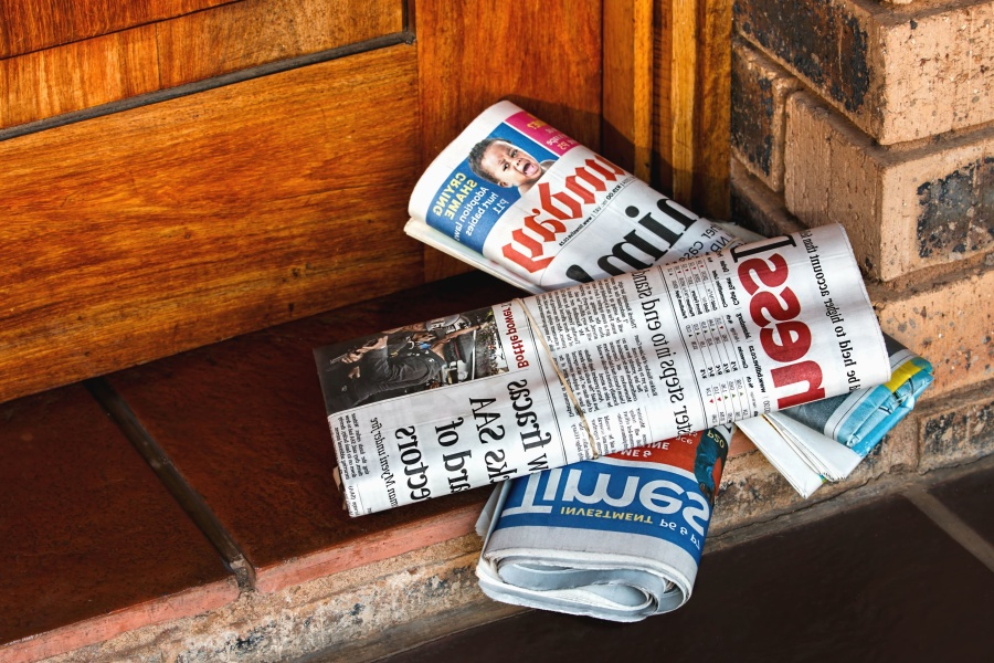 newspaper, paper, door, news, brick, wall, floor
