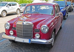vehicle, car, classic, metallic, red, luxurious