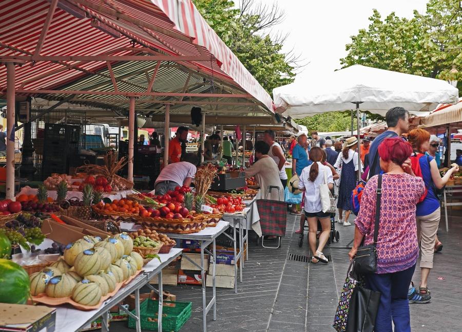 market, crowd, seller, vegetable, fruit, people, organic, food
