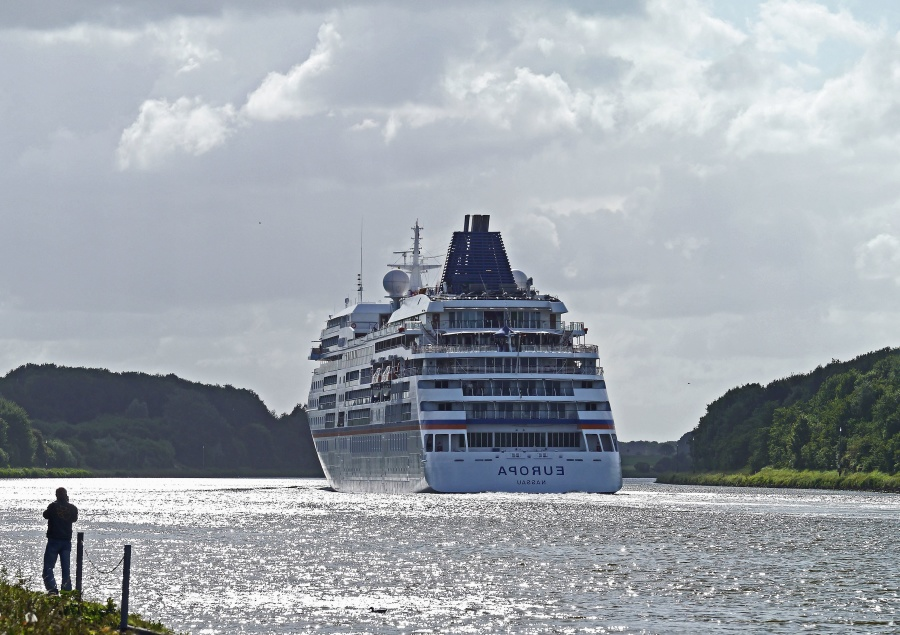 cruise ship, ocean, luxury, travel, forest, sky