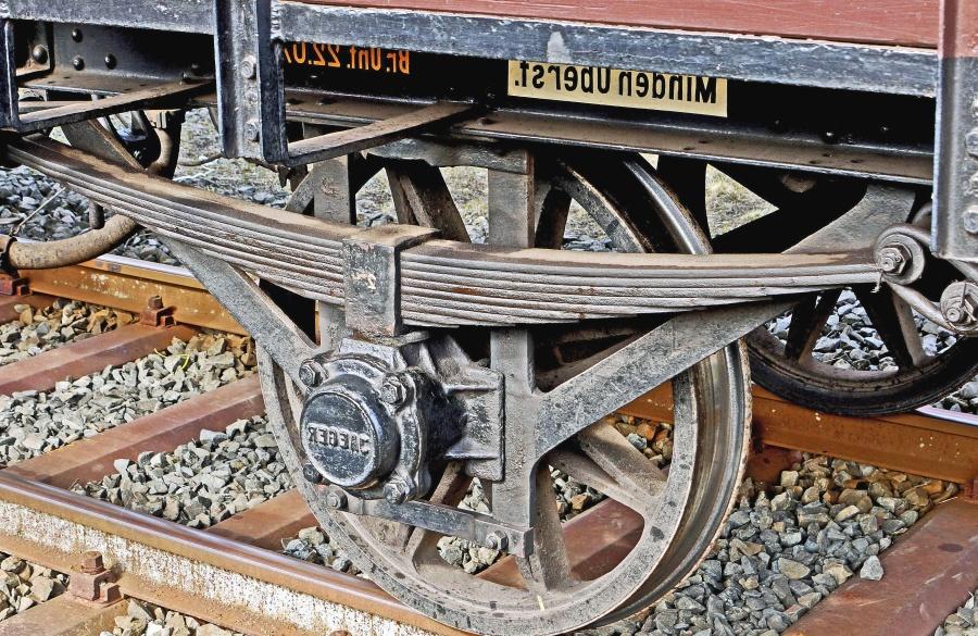 Vehículo, metal, rueda, suspensión, frenos, piedra, ferrocarril