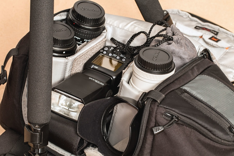 equipment, technology, photo camera, lens, flash, bag