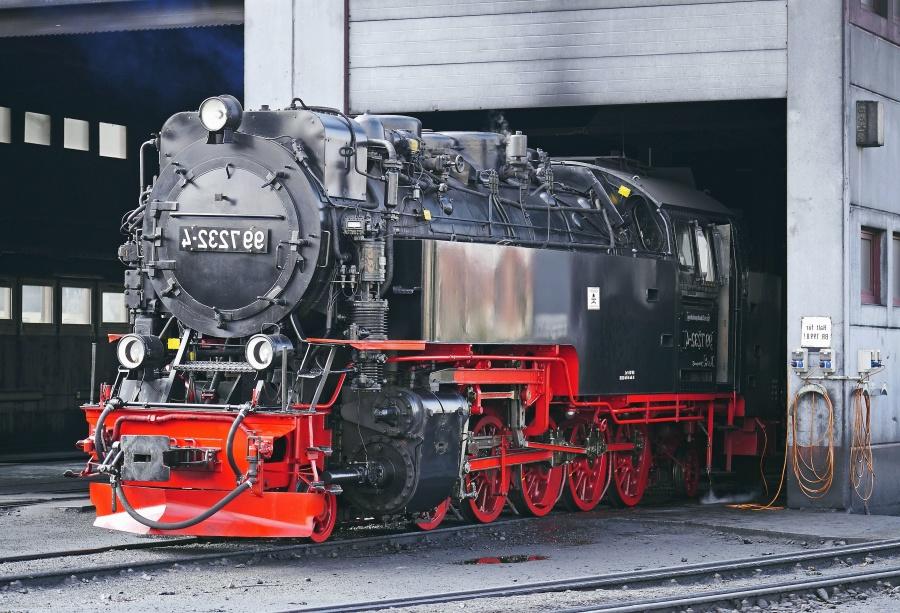 locomotive, steam engine, garage, repair, metal, railroad